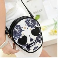 Drop shiping 2013 tassel bag casual skull small handbag black mini messenger shoulder bag female
