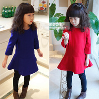 Children's clothing female child little girl one-piece dress 2013 autumn and winter 2 4 - - - 5 6 7 woolen skirt