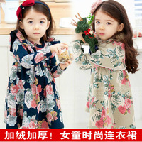 Female child long-sleeve dress 2013 autumn and winter fleece little girl skirt basic DANNY BEAR BANUM