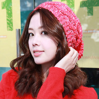 3336 female winter knitted cap sploshes multicolour pocket hat knitted cap pattern