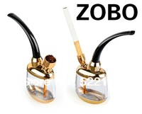 ZOBO real water pipe water pipes of double loop filter cigarette holder hookah smoking set ZB - 501 gold free shipping