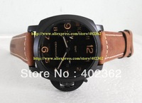 Brand New Mens Mechanical Sports Gmt Auto Date Watch Men Pam 441 Black PVD 3 Day Reserve 438 Leather Vintage Watches