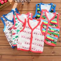 3599 winter small children's infant clothing male female child vest plus velvet thickening fleece vest basic shirt