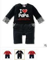 2013 new spring and autumn i love mom and baba romper carters pane baby clothes children hoodies wholesale 3pcs /lot