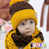 Baby hat child hat 2943 princess bear ear protector cap scarf twinset hat