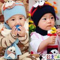 1637 princess baby hat child hat autumn and winter hat twinset bees cap bonnet