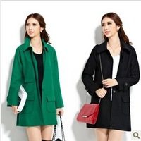 New Fashion cashmere women's outerwear Winter warm coat raglan sleeve Casual ladies trench plus size Green overcoat jacket C5305