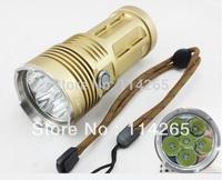 New SKY RAY KING 6 x CREE XM-L U2 LED 8000 Lumen 3 Mode Super Bright 6t6 LED Flashlights- Golden (4 x 18650)