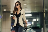 2013 Alibaba Express Fashionable Comfortable White Women Coat Jacket Wholesale Retailer Kel120077
