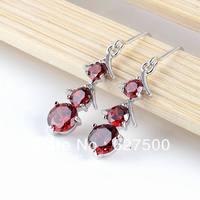 Wholesale 6 Colors Fashion Clover CZ Crystal Earrings For Women Dangle Drop Earrings Rhodium Plated  Grade Cubic Zircon