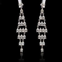Luxury Cubic Zirconia Wedding Dress Earrings 2014 New Design Crystal Long Drop Earrings Bling Dangle Wedding Bridal Earrings