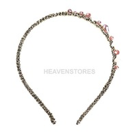Korea Style Golden Wire Wrapped Purple Irregular Crystal Hair Band Headband hv3n