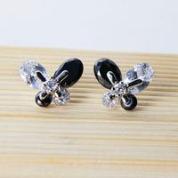 Wholesale Cubic Zircon Stud Earrings Crystal Butterfly Earing Stud For Girls Bijoux 2014 Fashion Korean Jewelry