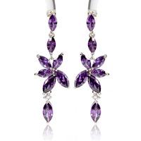 2014 Luxury Cubic Zirconia Earrings for Women 2014 Exaggerated Amethyst Dangle Drop Party Earrings 5 Colors