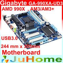 Gigabyte GA-990XA-UD3, ATX 244mm x 305mm motherboard, AM3+/AM3, PCI-E, SATA3.0, for Phenom II, All new, Original Genuine(China (Mainland))