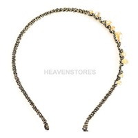 New Women Irregular Champagne Crystal Golden Wire Wrap Hair Band Headband  hv3n