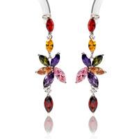 Wholesale Long Dangle Party Earrings Fashion 2014  Multicolor Cubic Zirconia Crystal Bohemian Earrings