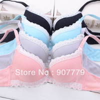 Free shipping 100% cotton sexy pink lace underwear young girl bra set underwear set