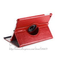 High Quality Crazy Horse PU Leather Case For Apple iPad Air 5, 360'C Rotating Adjust Kickstand Cover For iPad 5
