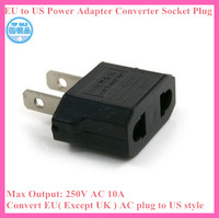 TOP SELLING&BOTTOM PRICE 2pcs*Universal Adapters Travel Plug EU to US Power Adapter Converter Socket Plug ,Free Drop Shipping