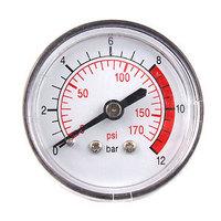 0 170 PSI 12 Bar Black Plastic Shell Air Pressure Dial Gauge