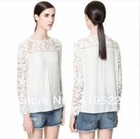 Free Shipping Newest 2013 Summer Women's hook needle knitted cutout flower patchwork chiffon blouse lace shirt female