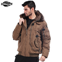 2014 New!Military removable hooded fur collar jacket with thick warm jacket Waterproof jacket