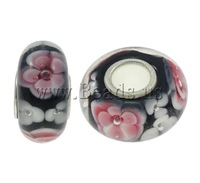 Free shipping!!!Lampwork Beads European Style,Cheap Jewelry Wholesale, Rondelle, handmade, brass single core without troll