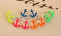 Free shipping!!!Zinc Alloy Stud Earring,dream,bridesmaids jewelry, Anchor, painting, mixed colors, nickel, lead & cadmium free