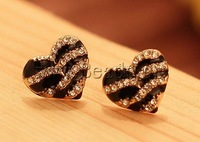 Free shipping!!!Zinc Alloy Stud Earring,2013 Womens, Heart, gold color plated, enamel & with rhinestone, nickel