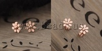 Free shipping!!!Zinc Alloy Stud Earring,Inspirational, Flower, rose gold color plated, nickel, lead & cadmium free, 12mm