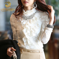 Winter plus velvet thickening diamond basic shirt autumn and winter turtleneck long-sleeve thermal slim lace shirt female