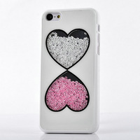 New cute charms Luxury Lover Heart Bling Diamond Crystal rigid plastic hard back Case For Apple iPhone 5C free shippping 0291