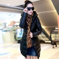 free shipping Winter Fashion Candy Color Down Coat Women's parkas natural Collar Hooded Down Jacket women Coats & Jackets