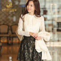 2013 winter plus velvet thickening long-sleeve chiffon shirt top white shirt basic shirt women's shirt