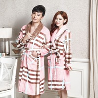Anna winter paragraph flannel set plaid thickening coral fleece lovers sleepwear robe bathrobes