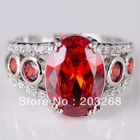 R118  Promotion Latest designed jewelry red garnet topaz silver ring women wedding Christmas, gift jewelry size 8 new year gift