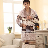New arrival 13 winter long-sleeve coral fleece sleepwear robe male thickening flannel sleepwear lounge