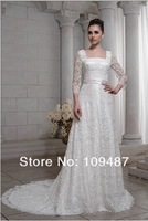 High-end custom wedding dress lace long-sleeved court