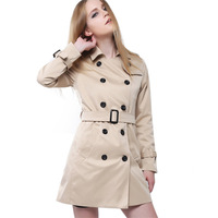 plus size british style Medium-long trench 2014 slim overcoat female autumn winter outerwear trench coat for women T157