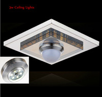promotion 220V 3W Modern brief bedroom lamp crystal stainless steel led ceiling light balcony lamp aisle lights Free Shipping