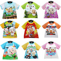 In Stocked New Arrivals Free Shipping 100% cotton Children's T-shirt Cartoon pleasant goat and big big wolf
