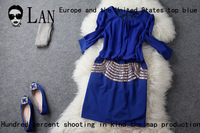 Free shipping Women's 2013 autumn fashion waist ol fashion formal half sleeve one-piece dress