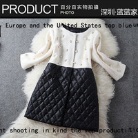 Free shipping Fashion 2013 women's high quality handmade beading PU check patchwork elegant single breasted trench