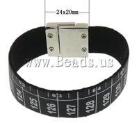 Free shipping!!!Velveteen Bracelet,Luxury, zinc alloy magnetic clasp, platinum color plated, black, 24x20mm, 19mm