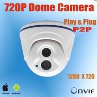 P2P 1/3'' 1.0MP Dome IP Camera,720P Megapixel Network IP camera 1pcs Star III Array LED,15m IR distance,Support ONVIF, POE