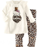 Promotion! free shipping new 100% cotton Hello kitty baby pajamas of the children leopard pyjamas kids baby clothing 2 pcs set