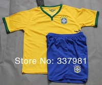 New 14 Brazil kid Soccer Set Factory Price Best Kid Jersey 14 World Cup Brazil Home Youth Football Suit  Kids Uniform Mix Order