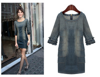 2014 new fashion OL spring autumn summer Vintage casual dress high quality denim plus size brand evening dresses party
