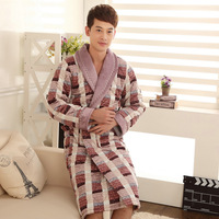 Male winter robe thickening coral fleece robe bathrobes male cotton-padded casual lounge sleepwear